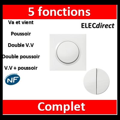 Legrand - Transformeur 5 fonctions va-et-vient et poussoir dooxie one livré + plaque et griffes - 600731