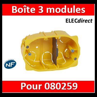 Legrand Batibox - Boîte multiposte Batibox cloisons sèches pour Mosaic 3 modules - profondeur 40mm - 080049