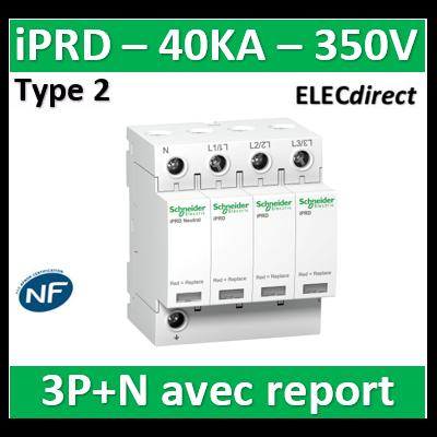 Schneider - Acti9, iPRD 40r parafoudre 3PN, 40kA 350V, avec report signalisation - A9L40601