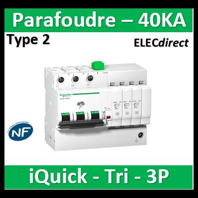 Schneider - Acti9, iQuick PRD40r parafoudre 3P avec report signalisation 40KA - A9L16293