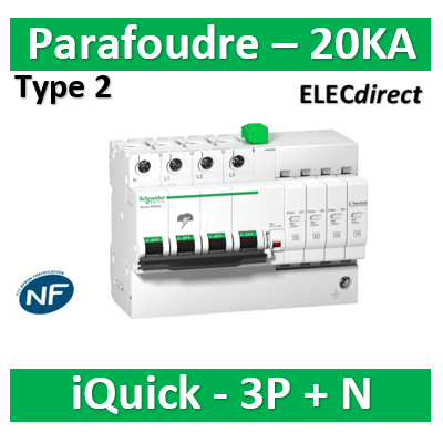 Schneider - Acti9, iQuick PRD20r parafoudre 3P+N avec report signalisation - 20KA - A9L16297