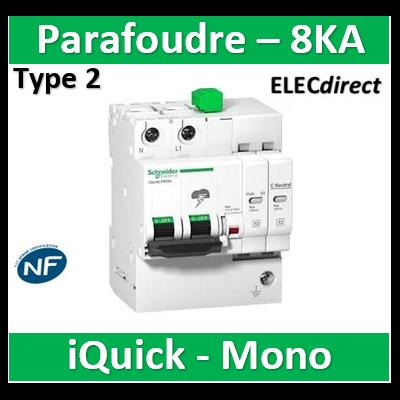 Schneider - Acti9, iQuick PRD8r parafoudre 1P+N avec report signalisation  - 8KA - A9L16298