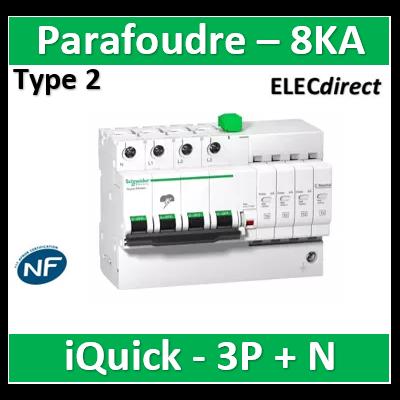 Schneider - Acti9, iQuick PRD8r parafoudre 3P+N avec report signalisation - 8KA - A9L16300
