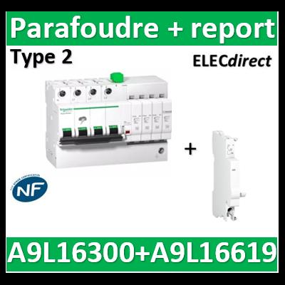 Schneider - Acti9, iQuick PRD8r parafoudre 3P+N + report signalisation - 8KA - A9L16300+A9L16619