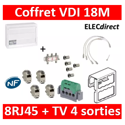Legrand - Coffret VDI GRADE 2 avec brassage 18M STP - 4 TV - 8 RJ45 - 418248+S4NW+5 fiches+413083