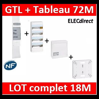 Legrand - GTL 18 + tableau 72M + VDI 4RJ45 / 2TV + platine - 030067+401224+418248+401191