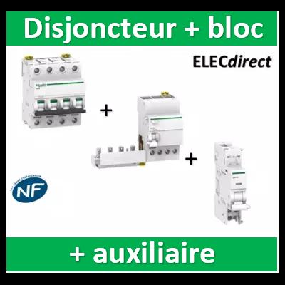 Schneider - Disjoncteur 4P 40A 6kA - courbe C + Bloc Dif. 40A 30mA auxiliaire - A9F77440+A9Q11440+A9A26946