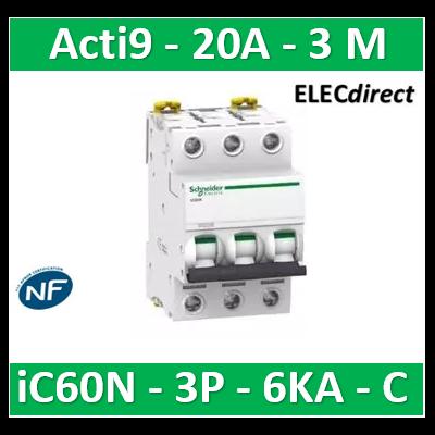 Schneider - Disjoncteur Acti9 - iC60N - 3P - 20A - 6kA - courbe C - A9F77320