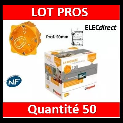 Legrand Batibox - LOT PROS - Boîte d'encastrement 1 poste - Prof. 50 - 080051x50