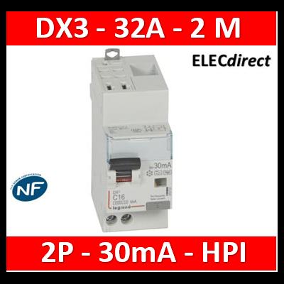 Legrand - Disj diff DX³ 4500 - auto/vis- U+N 230V~ 32A - type Hpi - 30mA - 6kA - courbe C - 2M - 410764