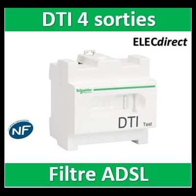 Schneider - LexCom Home DTI - Repartiteur Telephone 4 sorties - Filtre ADSL - VDIR326020