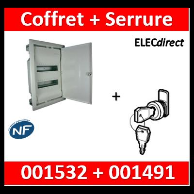 Legrand - Coffret encastrable 24 + 4 modules - 2 rangées de 14M + serrure - 001532+001491