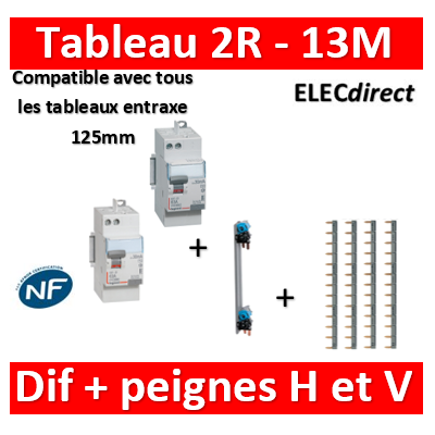 Legrand - Peignes Vertical + 4 peignes horizontaux + dif. 40A A 30mA+ Dif. 40A AC 30mA - 405000+404926x4+411651+411650