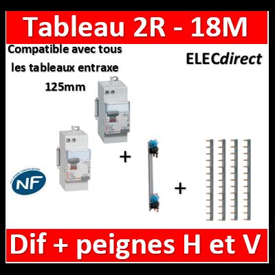 Legrand - Peignes Vertical + 4 peignes horizontaux + dif. 40A A 30mA+ Dif. 40A AC 30mA - 405000+404928x4+411651+411650