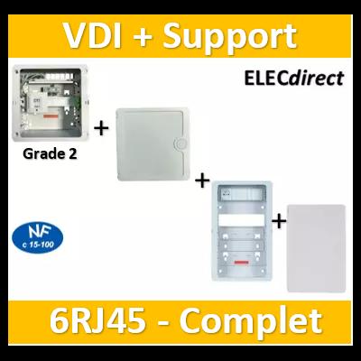 Casanova - Tableau C-TRI - 6RJ45 Grade 2 TV équipé DTI + Support Box + Portes - CTRIETG24X+ZA375C+Porte