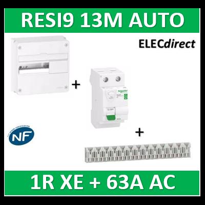 Schneider - Resi9 - coffret 13M - 1R + peignes AUTO XE + Dif. 63A AC 30mA - R9H13401+R9ERC263+R9EXHS13