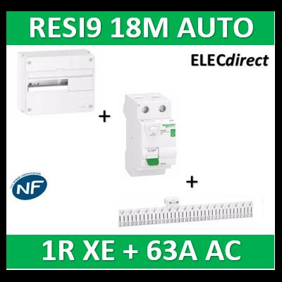 Schneider - Resi9 - coffret 18M - 1R + peigne XE + Dif .63A AC 30mA - R9H18401+R9EXHC18+R9ERC263