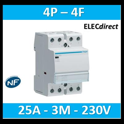 Hager - Contacteur 25A, 4F, 230V - ESC425