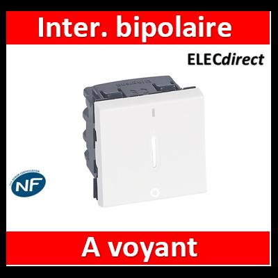 Legrand Mosaic - Interrupteur bipolaire à voyant 16AX 250V~ Mosaic 2 modules - blanc - 077052