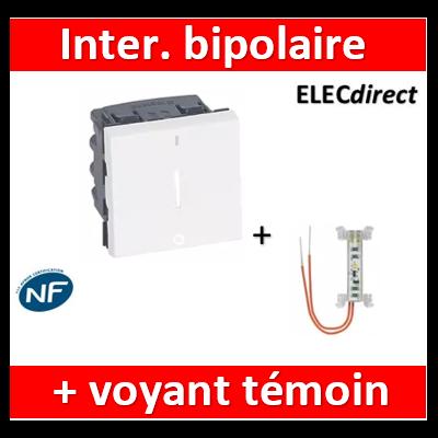 Legrand Mosaic - Interrupteur bipolaire à voyant 16AX 250V~ Mosaic 2 modules - blanc + voyant - 077052+665091