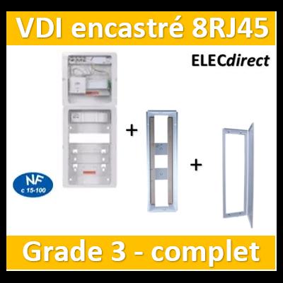 Casanova - Tableau C-Start 625 - 8RJ45 Grade 3 TV équipé DTI + Support Box- 2 coiffes + 2 PC + bac encastré + porte