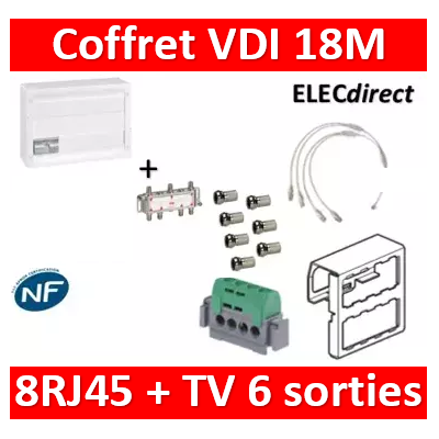 Legrand - Coffret VDI GRADE 2 avec brassage 18M STP - 6 TV - 8 RJ45 - 418248+S6NW+7 fiches+413083x4