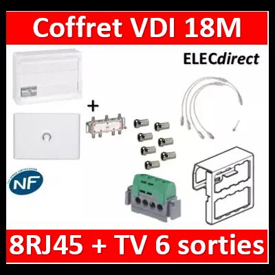 Legrand - Coffret VDI GRADE 2 avec brassage 18M STP - 6 TV - 8 RJ45 - 418248+S6NW+7 fiches+413083x4+401231