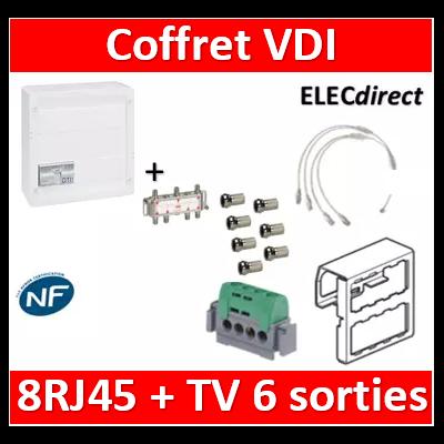 Legrand - Coffret VDI GRADE 2 avec brassage STP - 8 RJ45 / TV 6 sorties - 413248+SN6W+7 fiches F+413083
