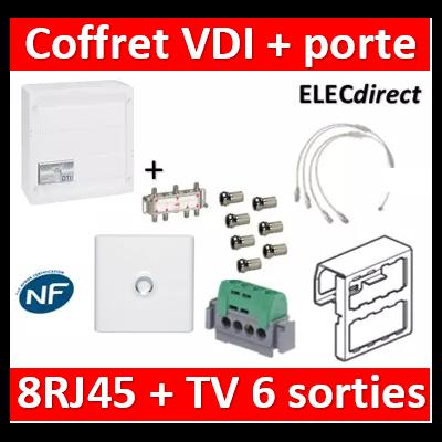 Legrand - Coffret VDI GRADE 2 avec brassage STP - 8 RJ45 / TV 6 sorties - 413248+SN6W+7 fiches F+413083+401331