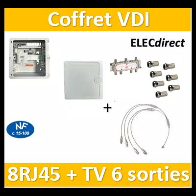 Casanova - Coffret VDI Grade 1 avec brassage - 8 RJ45 - 6 TV + fiches F + porte - CTRIETG14x4