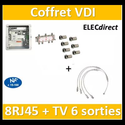 Casanova - Coffret VDI Grade 1 avec brassage - 8 RJ45 - 6 TV + fiches F - CTRIETG14x4
