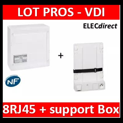 Legrand - Coffret VDI GRADE 2 avec brassage STP - 8 RJ45 / TV 6 sorties - 413248+SN6W+7 fiches F+413083+413149