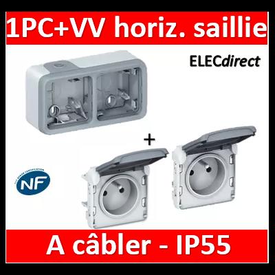 Legrand Plexo - Double prise de courant 2P+T 16A 230V - horizontal - à câbler - IP55/IK07 - 069672+069551x2