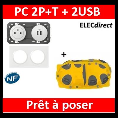 Legrand Dooxie - PC 2P+T 16A + 2 USB pré-câblé + plaque + boîte batibox BBC - 600342+600802+080022
