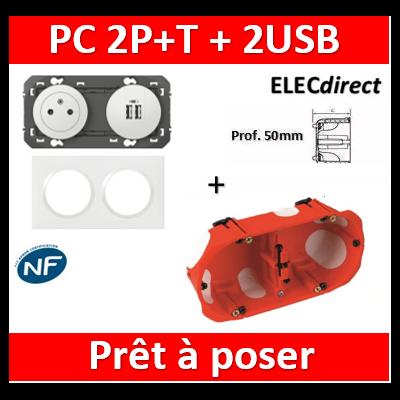 Legrand Dooxie - PC 2P+T 16A + 2 USB pré-câblé + plaque + boîte SIB BBC - 600342+600802+32972