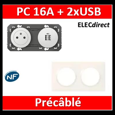 Legrand - Prise de courant 2P+T Surface + chargeur 2 USB Type-A dooxie 3A précâblés + plaque - 600342+600802