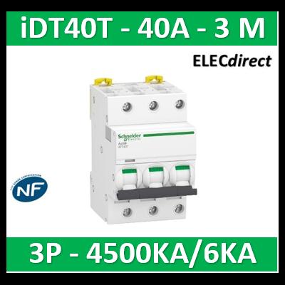 Schneider - Acti9 iDT40T - disjoncteur modulaire - 3P - 40A - courbe C - 4500A/6kA - A9P22340