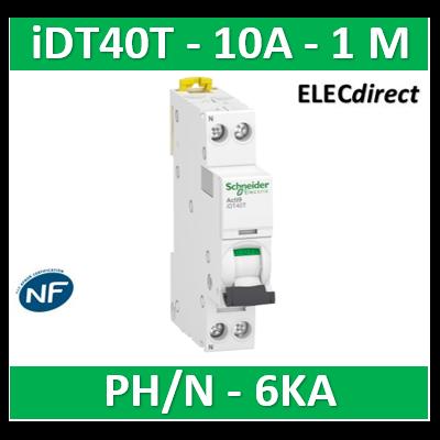 SCHNEIDER - Acti9 iDT40T - disjoncteur modulaire - 1P+N - 10A - courbe C - 4500A/6kA - A9P22610