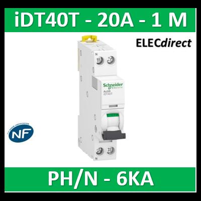 SCHNEIDER - Acti9 iDT40T - disjoncteur modulaire - 1P+N - 20A - courbe C - 4500A/6kA - A9P22620