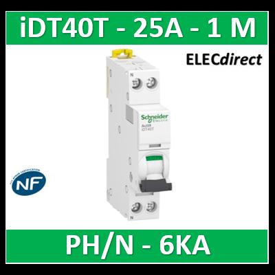 SCHNEIDER - Acti9 iDT40T - disjoncteur modulaire - 1P+N - 25A - courbe C - 4500A/6kA - A9P22625