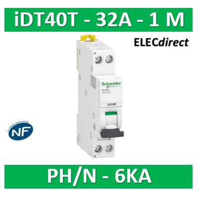 SCHNEIDER - Acti9 iDT40T - disjoncteur modulaire - 1P+N - 32A - courbe C - 4500A/6kA - A9P22632