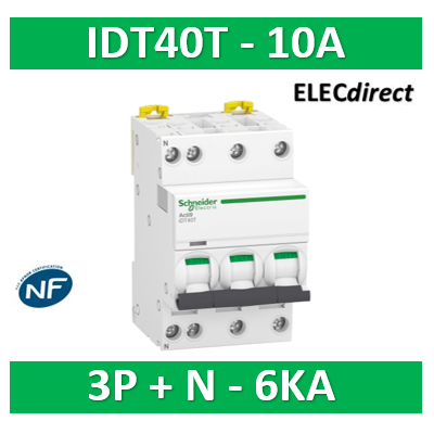 Schneider - Acti9 iDT40T - disjoncteur modulaire - 3P+N - 10A - courbe C - 4500A/6kA - A9P22710
