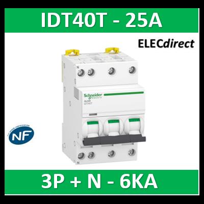 Schneider - Acti9 iDT40T - disjoncteur modulaire - 3P+N - 25A - courbe C - 4500A/6kA - A9P22725