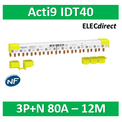 Schneider - Acti9 iDT40 - peigne - 3P+N - 12 modules de 18mm - 80A - A9XPN712