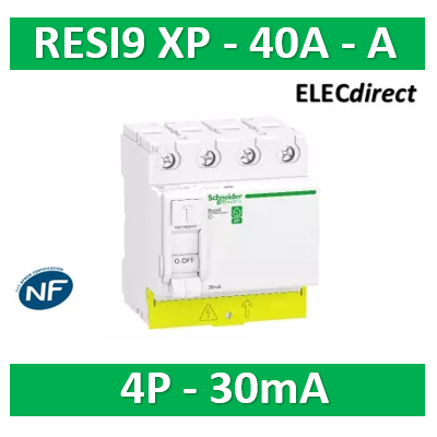 SCHNEIDER - Resi9 XP - interrupteur différentiel - 4P - 40A - 30mA - Type A - peignable - R9PRA440