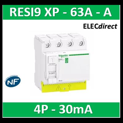 SCHNEIDER - Resi9 XP - interrupteur différentiel - 4P - 63A - 30mA - Type A - peignable - R9PRA463