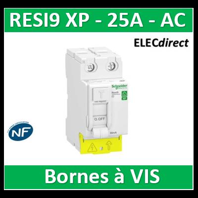 SCHNEIDER - Inter différentiel Resi9 XP 2P - 25A - 30ma - Type AC - R9PRC225