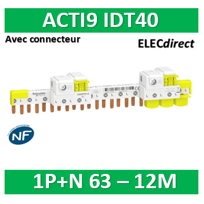 Schneider - Acti9 iDT40 - peigne avec connecteur - 1P+N - 12 modules de 18mm - 63A - A9XPP612