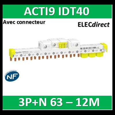 Schneider - Acti9 iDT40 - peigne avec connecteur - 3P+N - 12 modules de 18mm - 63A - A9XPP712