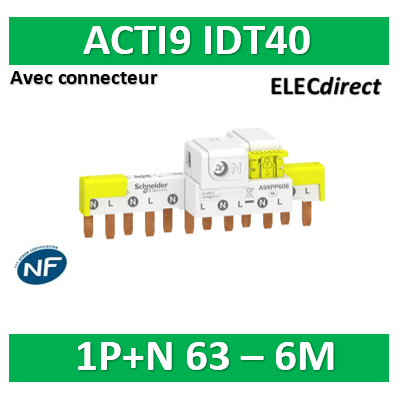 Schneider - Acti9 iDT40 - peigne avec connecteur - 1P+N - 6 modules de 18mm - 63A - A9XPP606